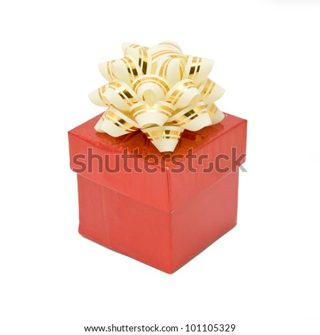 Single red gift box with silver-beige ribbon. Isolated on white background with clipping path - stock photo