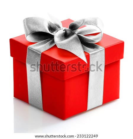Single red gift box with silver ribbon on white background.  - stock photo