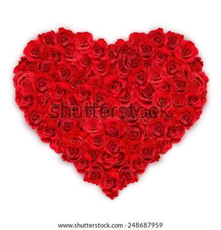 Single red heart made of red roses - stock photo
