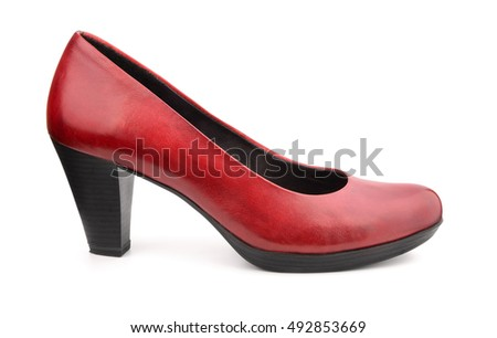 Single red leather women shoe isolated on white