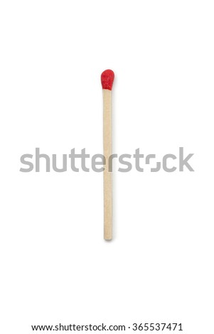 Single red match isolated on white background