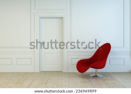 Single red modular chair in an empty room with white wood paneling and a closed door over a plain wooden parquet floor, architectural interior background. 3D Rendering.  - stock photo