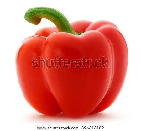 Single red paprika on the white background - stock photo