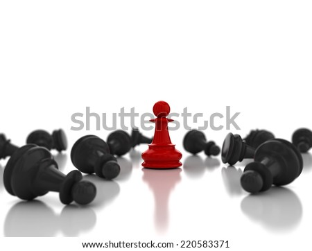 Single red pawn. Last one standing Business strategy concept background  - stock photo