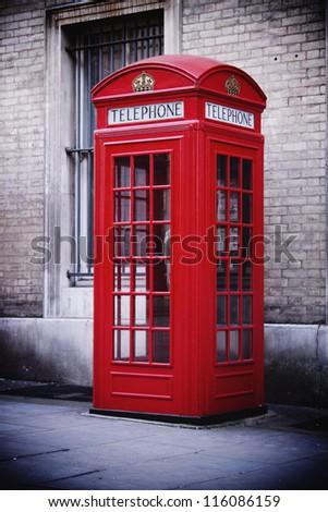 Single red phone box, London - stock photo