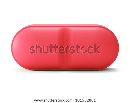 Single red pill isolated on white backgrond 3d render - stock photo