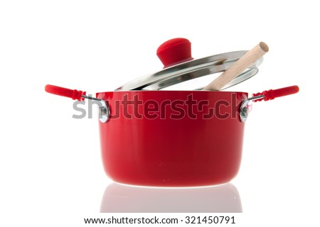 Single red pot for cooking isolated over white background - stock photo