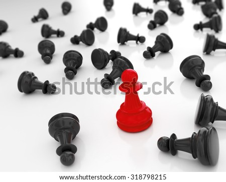 Single redn pawn. Last one standing Business strategy concept background  - stock photo