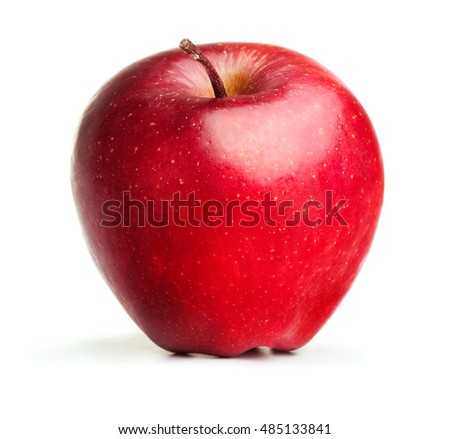 single ripe apple with leaf isolated on white background