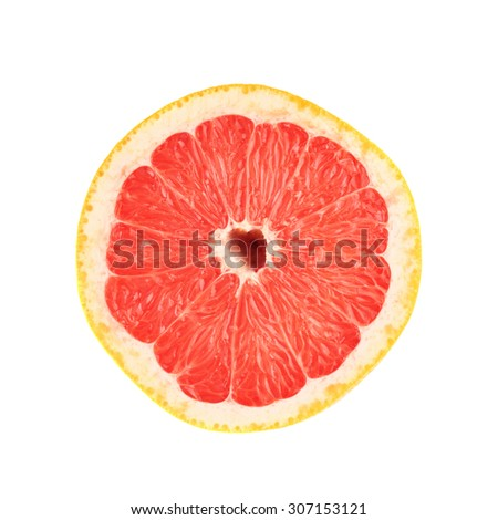 Single ripe fresh grapefruit cut in half isolated over the white background, top view - stock photo