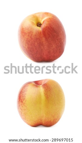 Single ripe nectarine isolated over the white background, set of two different foreshortenings - stock photo