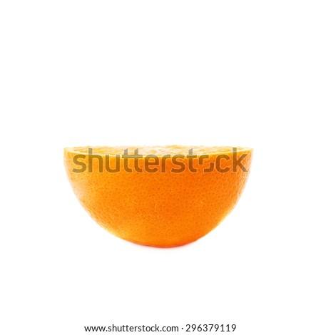 Single ripe orange cut in half isolated over the white background - stock photo