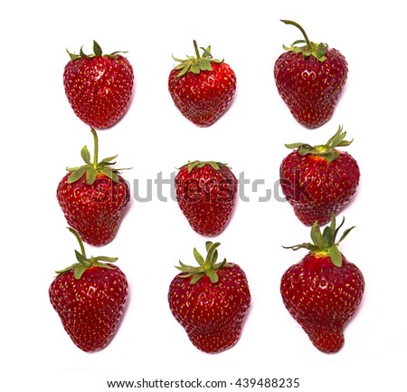 Single ripe red strawberry, isolated on white background, set of nine pieces