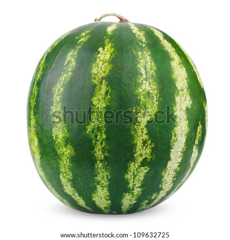 Single ripe watermelon isolated on white background - stock photo