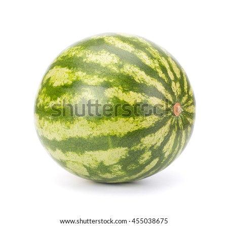 Single ripe watermelon isolated on white background