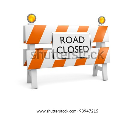 Single Road Closed Barrier