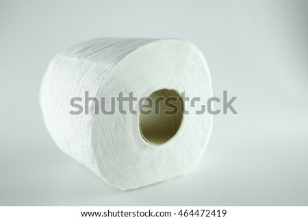 Single roll of toilet paper on white background.