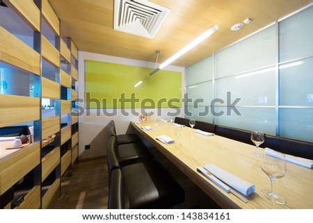 Single room in the cozy cafe with modern interior. - stock photo