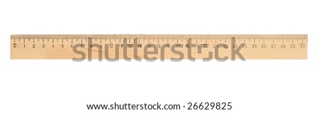 Single ruler isolated with clipping path over white - stock photo