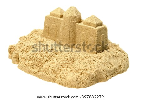 Single Sand Castle Made From Sand Isolated On White Background, Concept for Indoor Children Creativity, Front View, Close Up - stock photo