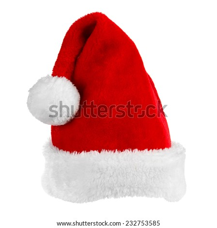 Single Santa Claus red hat - stock photo