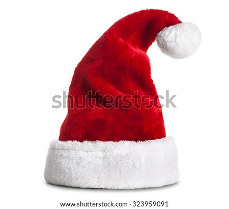 Single Santa Claus red hat isolated on white background - stock photo