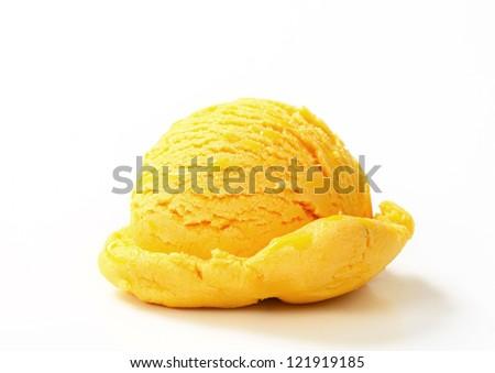Single scoop of yellow ice cream   - stock photo
