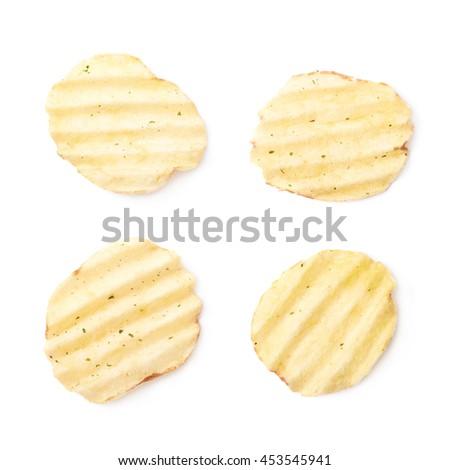 Single seasoned potato chip crisp isolated over the white background, set of four different foreshortenings - stock photo