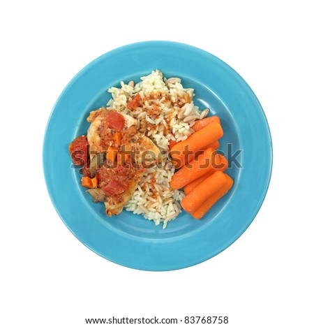 Single serving meal with chicken cacciatore carrots and rice pilaf on a blue plate against a white background.