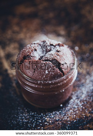 Single Serving Of Molten Chocolate Cake Baked In Glass Jar