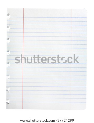 Single sheet of notepad paper isolated on white with clipping path - stock photo