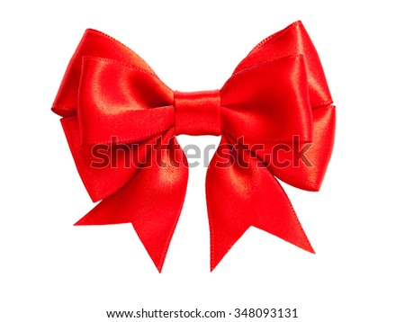 single shiny red ribbon satin bow isolated on white