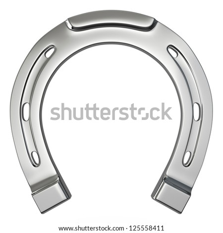 Single silver horseshoe isolated on white background