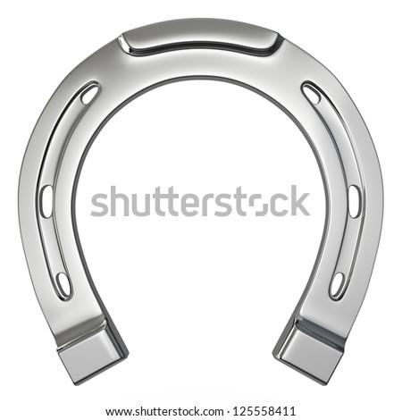 Single silver horseshoe isolated on white background - stock photo