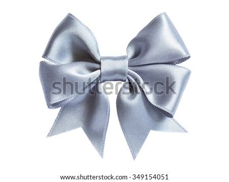 single silver shiny ribbon gift bow isolated on white