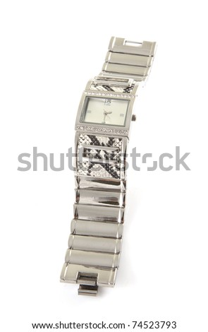 Single silver watch on a white background. - stock photo