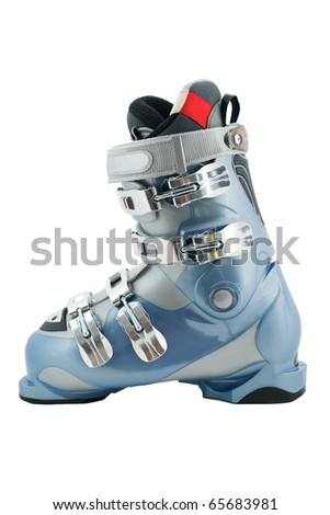 Single Ski boot in metallic blue, grey and sliver.  Isolated on white - stock photo
