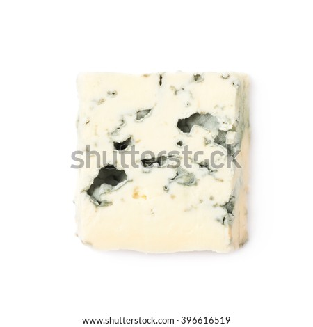 Single slice of blue cheese isolated - stock photo