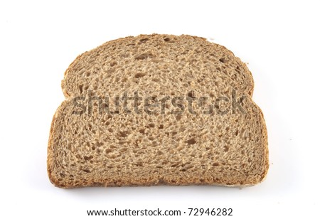 Single slice of bread on a white background.