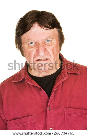 Single sneering Caucasian man over white background
