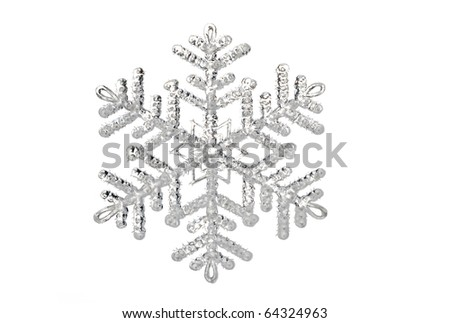 single snowflake object isolated on white background