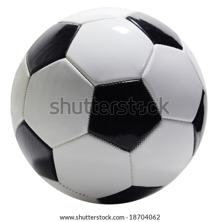 Single soccer ball isolated on white background, clipping path included - stock photo