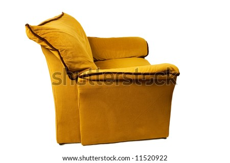 single sofa isolated on white background, side view - stock photo