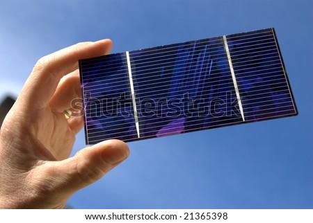 Single solar cell - stock photo