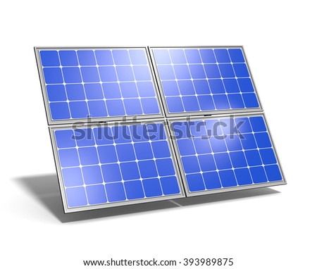 Single Solar Panel with Blue Sky Reflection on White Background 3D Illustration - stock photo