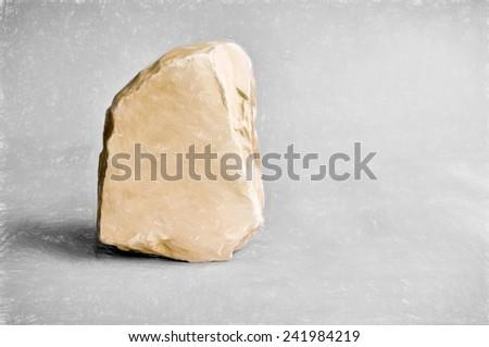 single stone  - illustration based on own photo image - stock photo