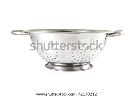 Single strainer on a white background. - stock photo
