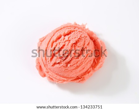 single strawberry ice cream scoop - stock photo