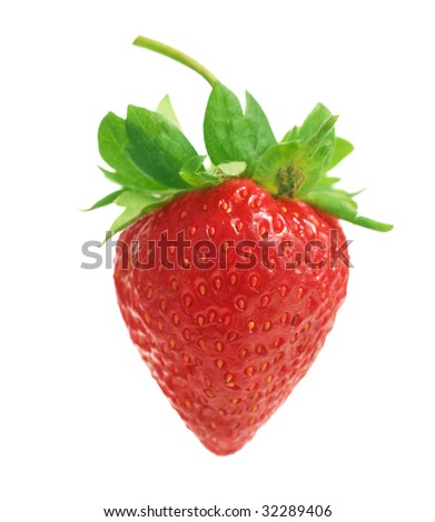Single Strawberry isolated on white - stock photo