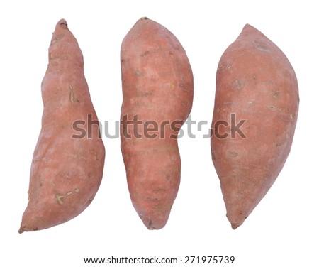 single sweet potatoes isolated on white  - stock photo